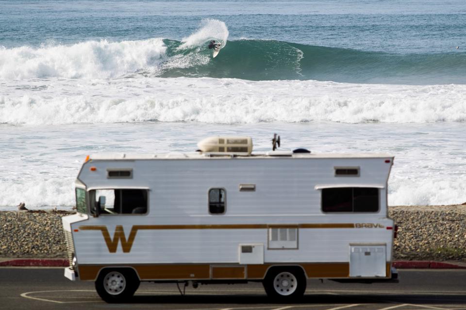 RV near the ocean, California