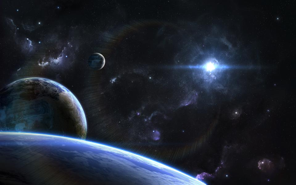 Outspace orbital view on alien planets and moons
