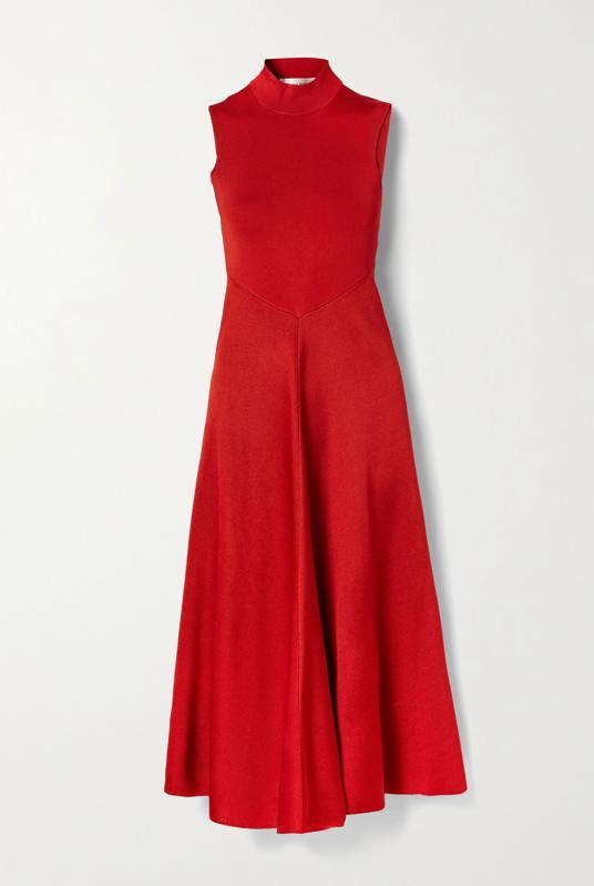 Victoria Beckham Crimson Cutout draped stretch-knit turtleneck midi dress