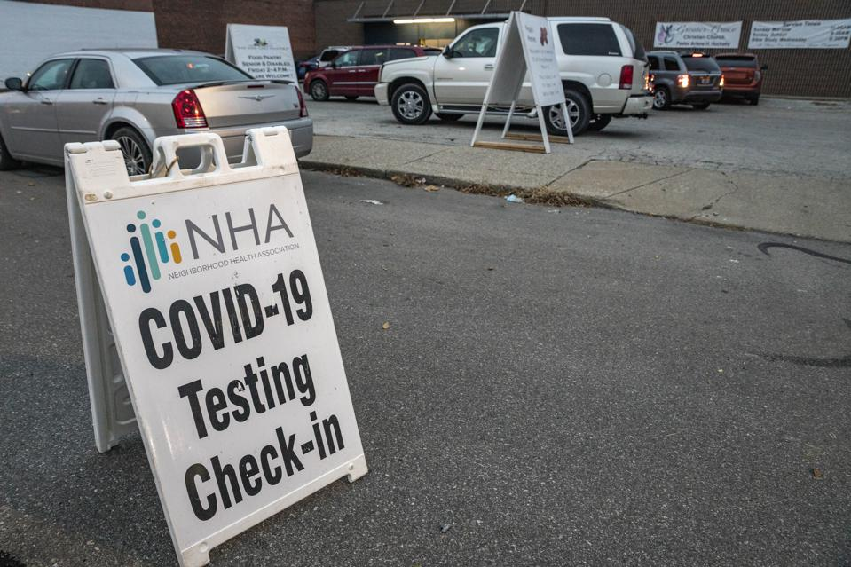 NHA COVID-19 testing sign seen in front of the Greater Grace...