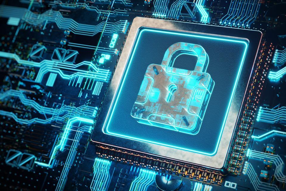 Abstract security lock on futuristic circuit board