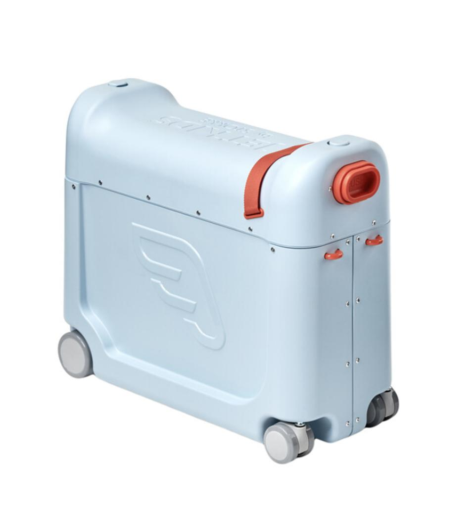 blue tower on suitcase