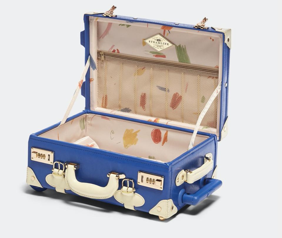open blue suitcase