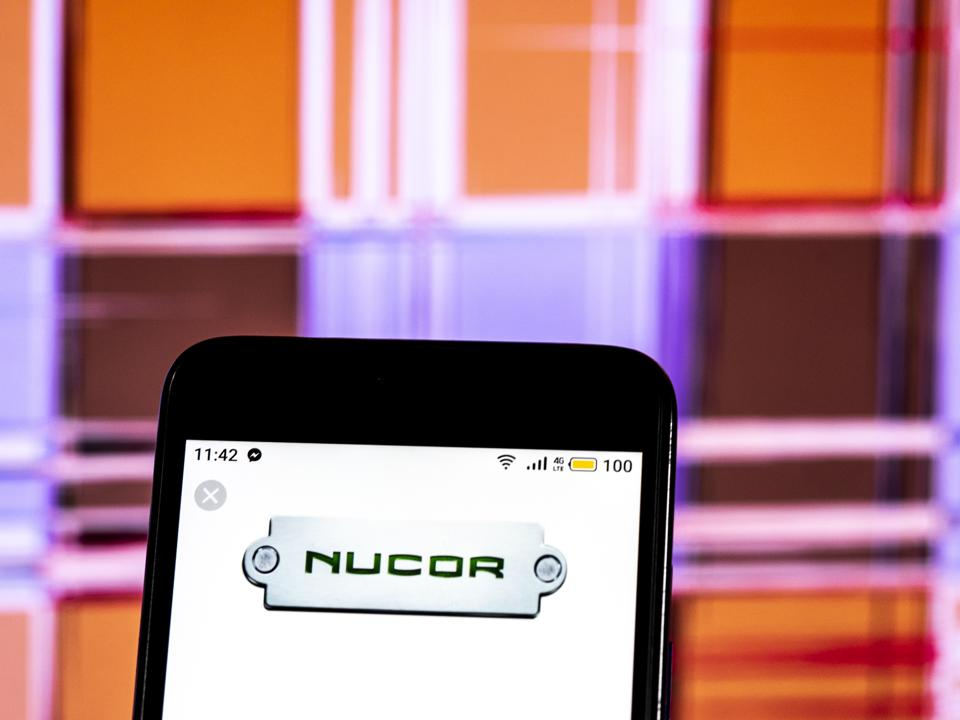 Nucor Steel production company logo seen displayed on a