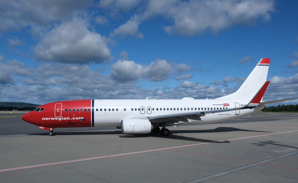 A passenger plane of Norwegian Air Shuttle on the tarmac at Norway's Oslo Airport.