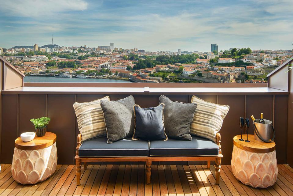 The terrace of the Torel Avantgarde hotel in Porto, Portugal, overlooks the city.