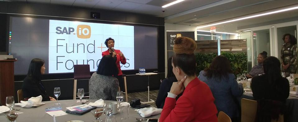 Congresswoman Yvette Clarke speaking during a special event at SAP.iO Foundry New York as part of the 2019 Black Women Talk Tech conference.
