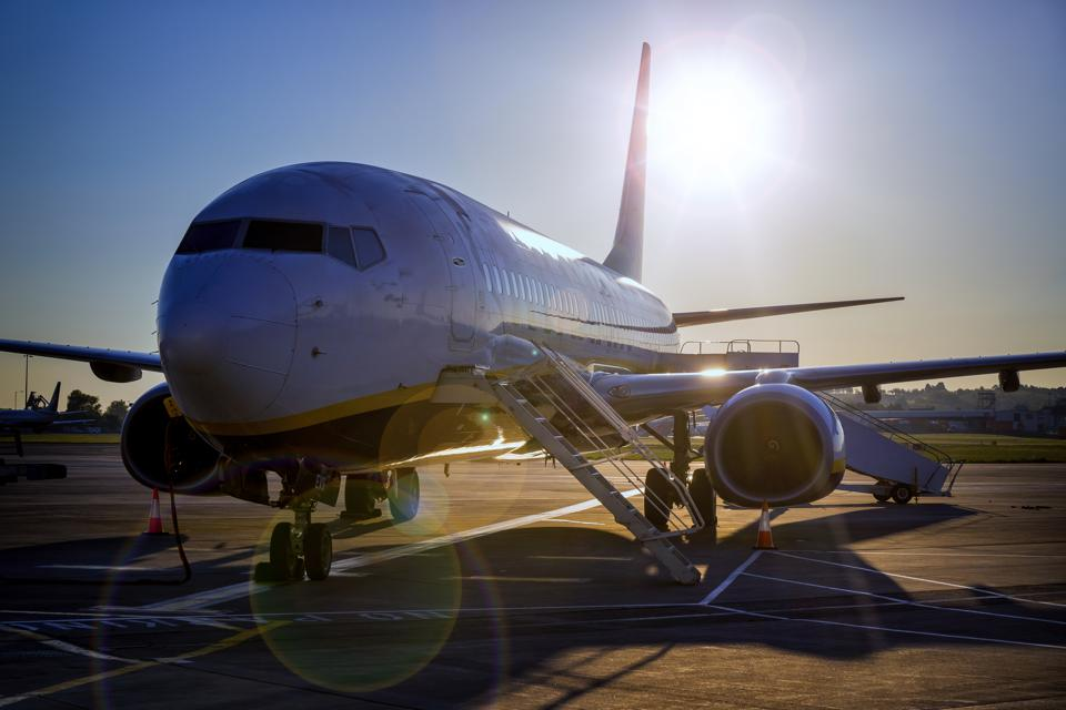 Aircraft  Boeing 737-800 grounded by the pandemic virus covid-19