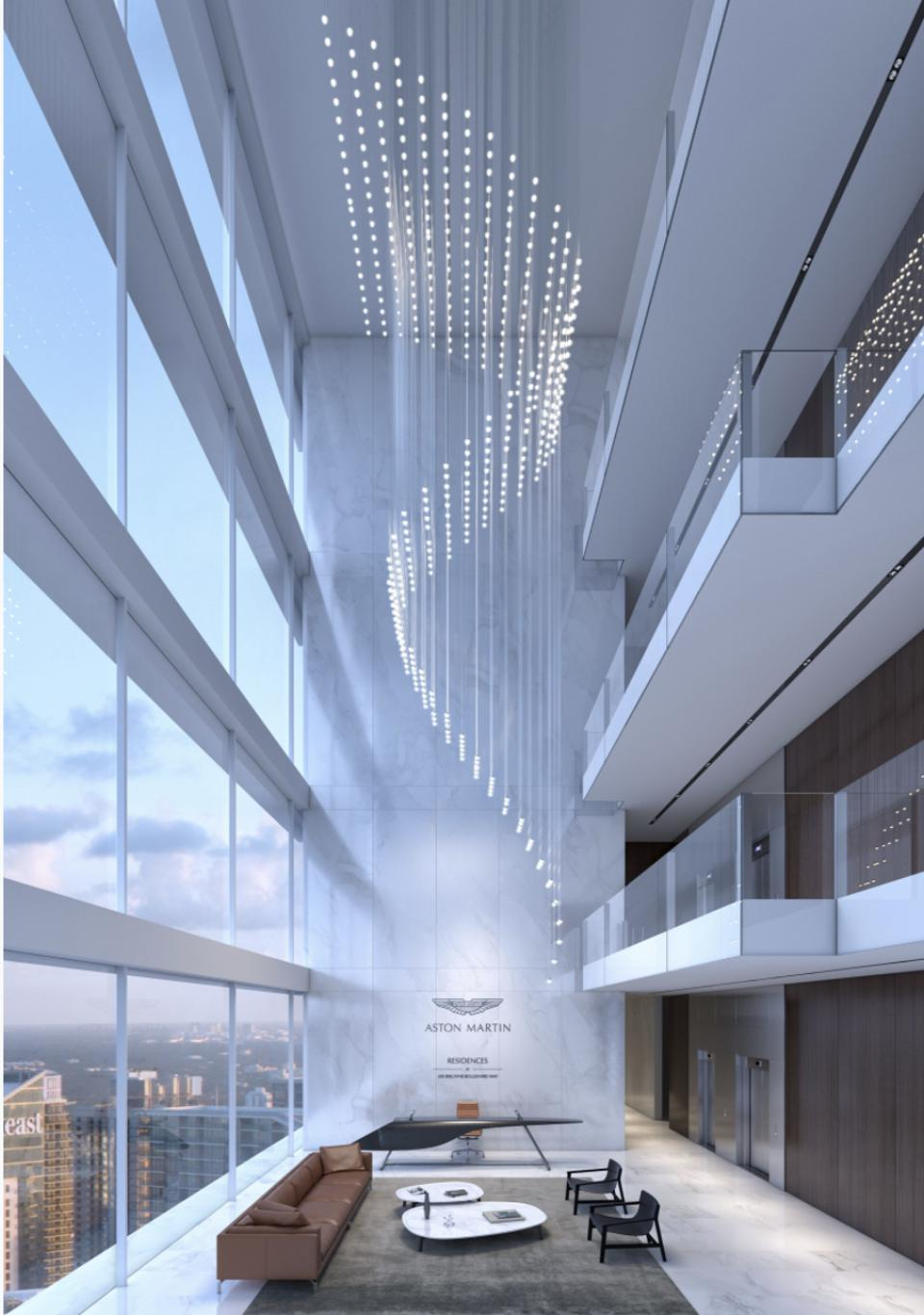 The sky lobby at Aston Martin Residences Miami