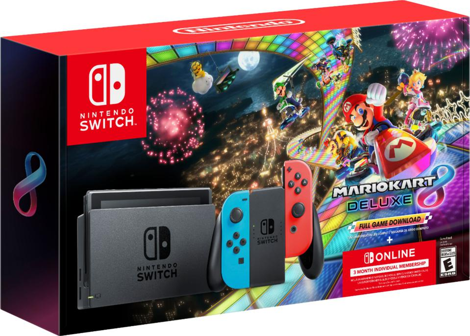 Nintendo Switch Bundle packaging with Mario Kart 8 Deluxe and Switch Online Membership