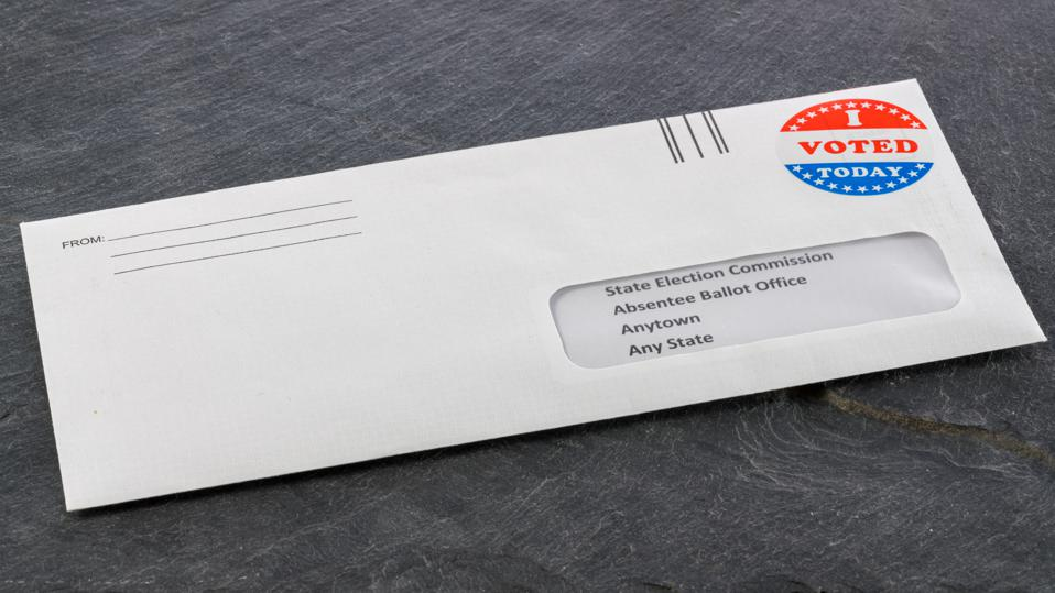 Envelope addressed to state election committe for voting by mail.