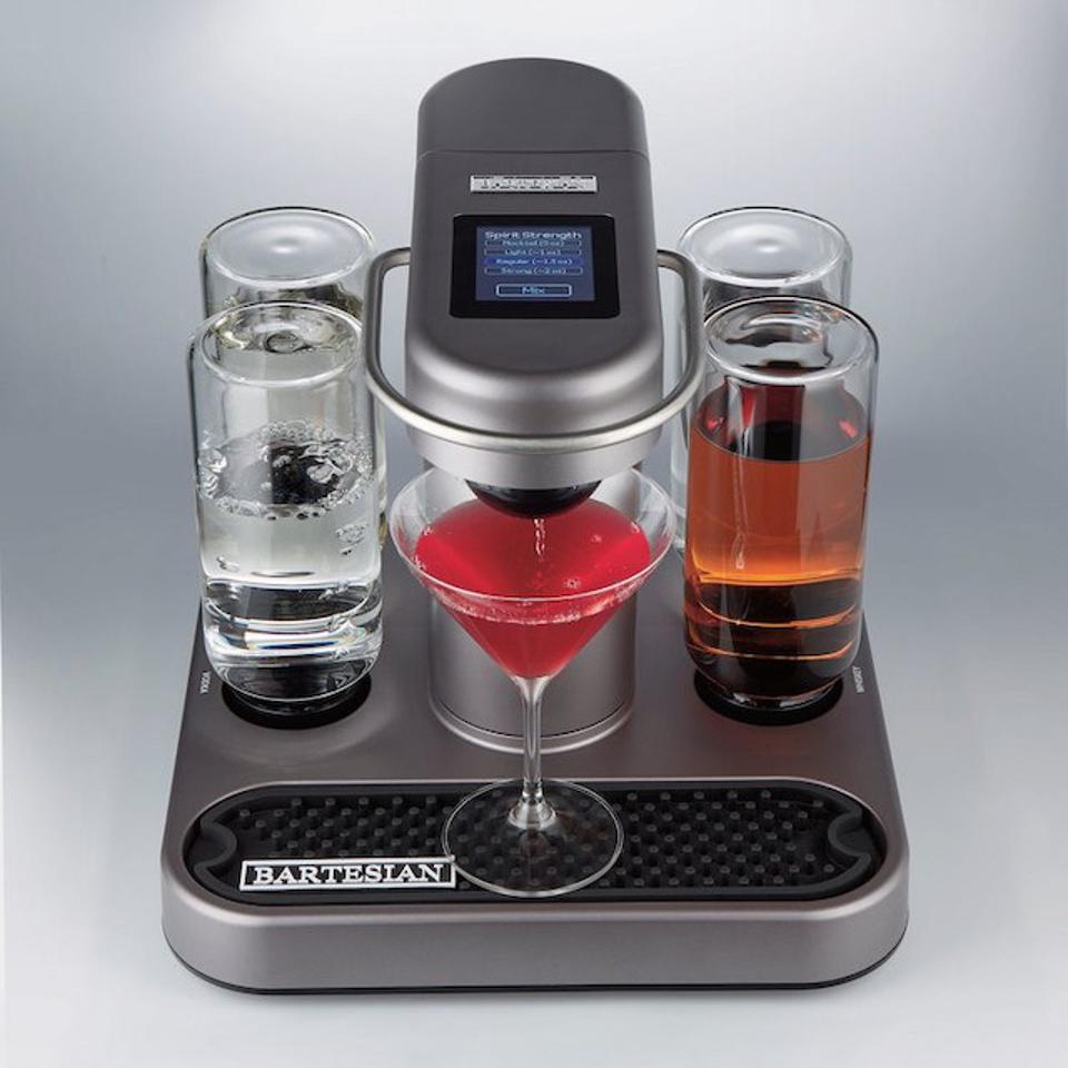 An overhead view of a Bartesian cocktail machine