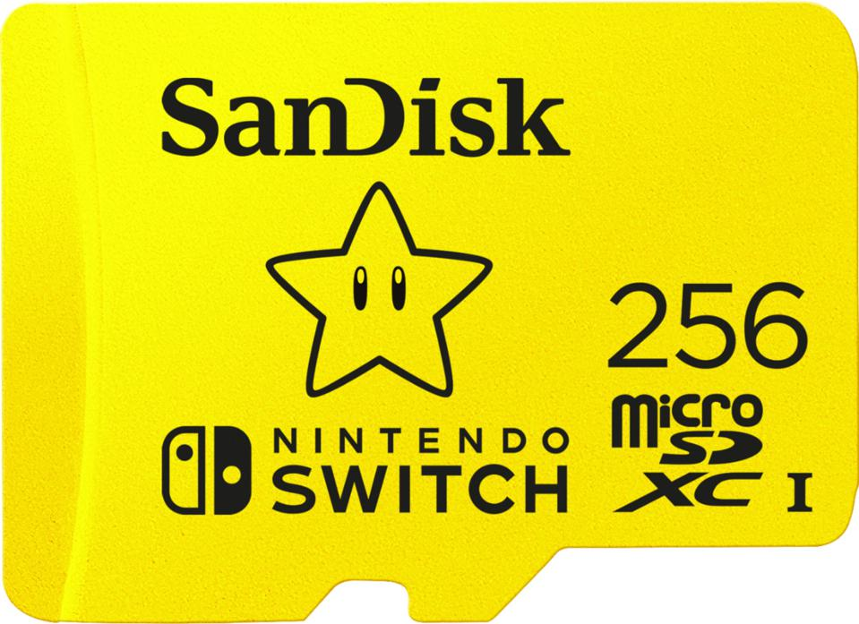 SanDisk 256GB microD card in yellow with Mario Star logo