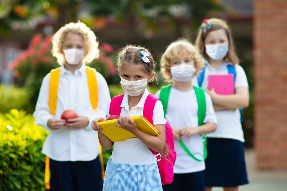School children wearing face masks
