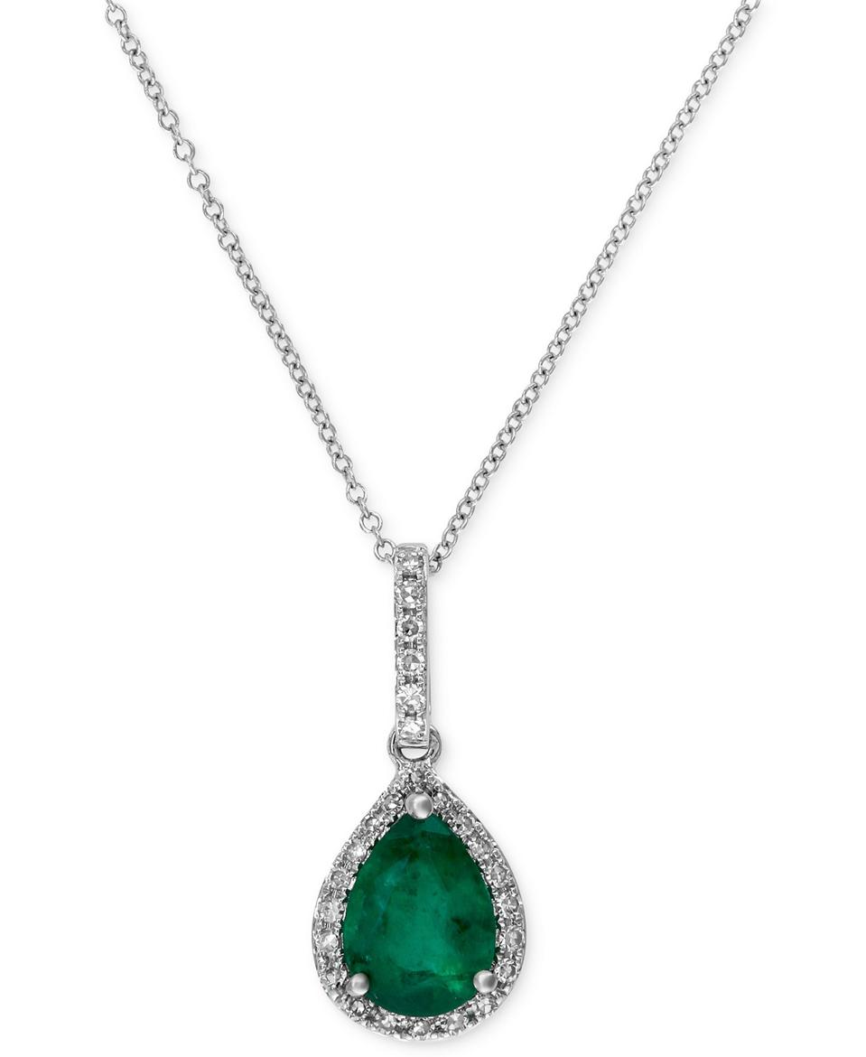 EFFY Collection Brasilica by EFFY® Emerald (9/10 ct. t.w.) and Diamond (1/8 ct. t.w.) Drop Pendant in 14k White Gold, Created for Macy's