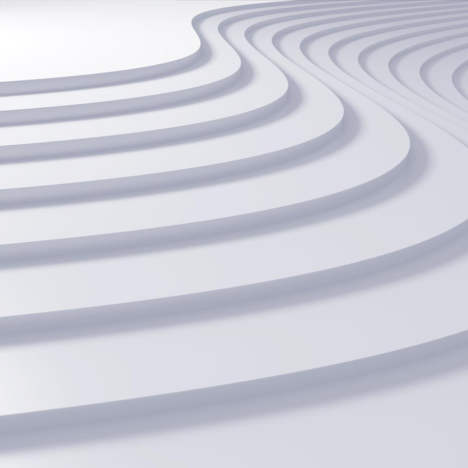 White curved steps, all flowing together. Def not up to code, but probably fun to tap dance on.