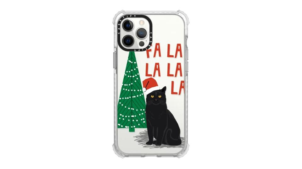 iPhone case cat with Christmas hat