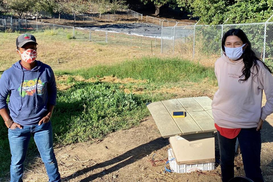 Left, Ashlee Johnson and Gonzalez at Johnson's farm in Hayward, California.