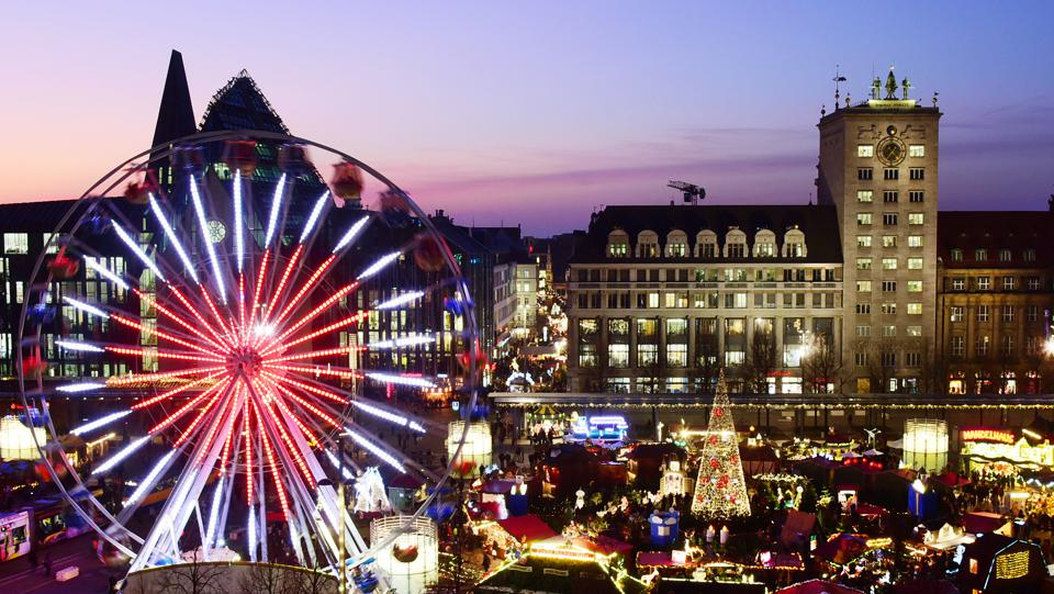 The Leipzig Christmas market on Augustusplatz.