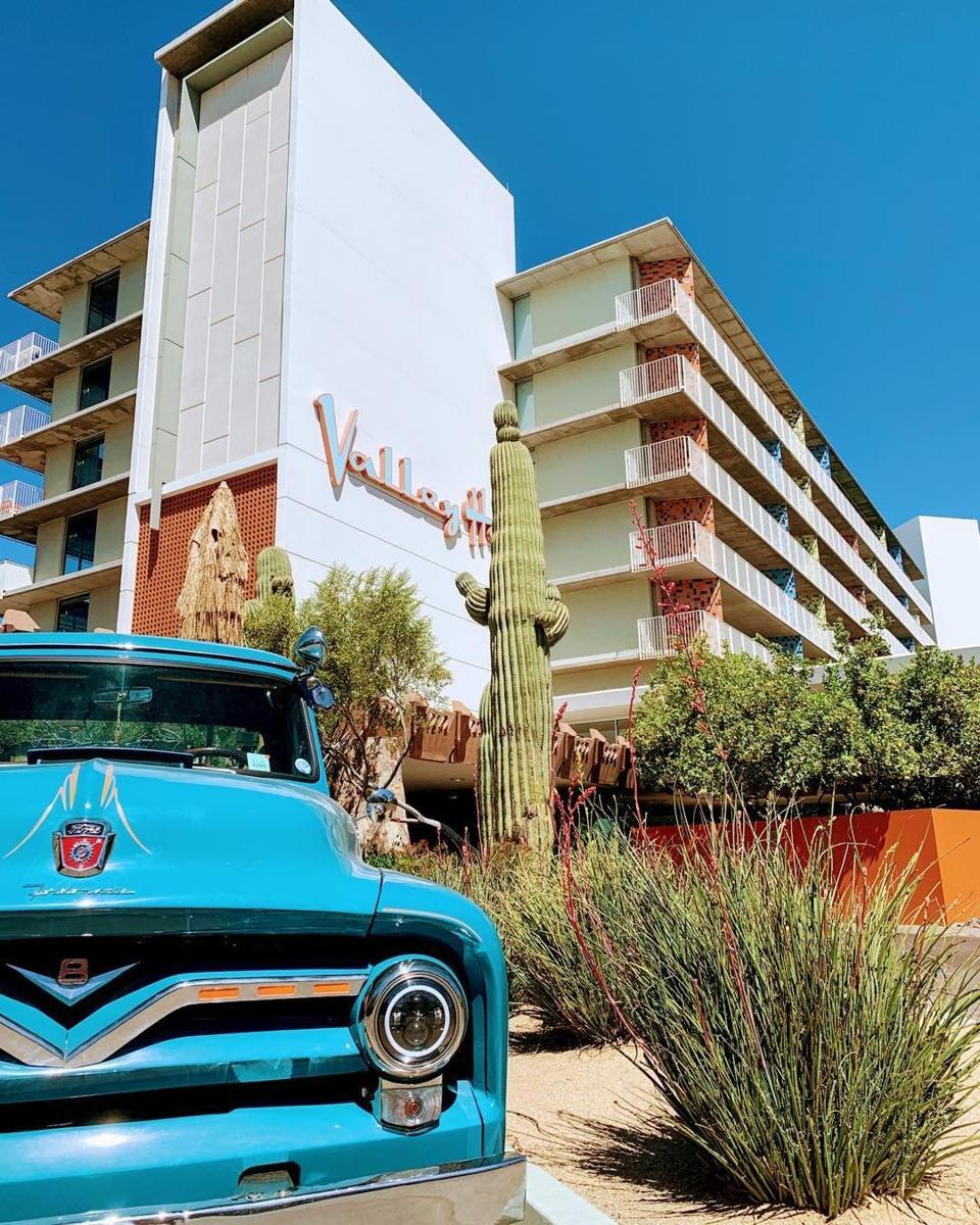 The hotel evokes a mid-century vibe.