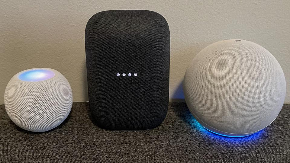 Left to right: Apple HomePod mini, Google Nest Audio, Amazon Echo (4th-gen) with assistants active