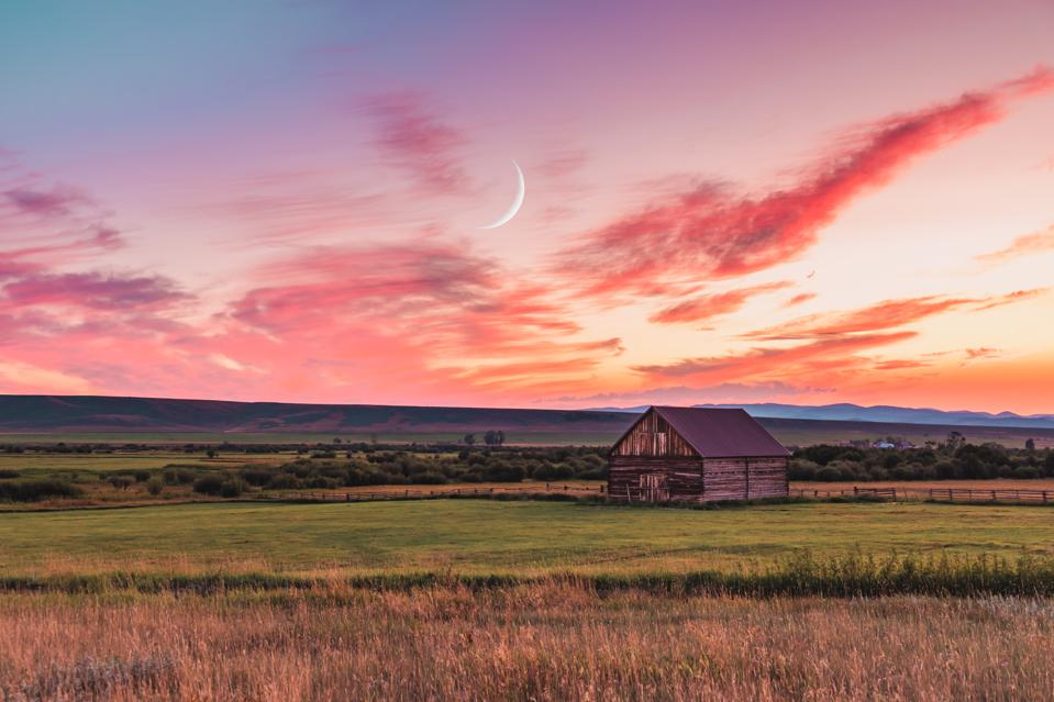 Barn at sunset in rural Montana