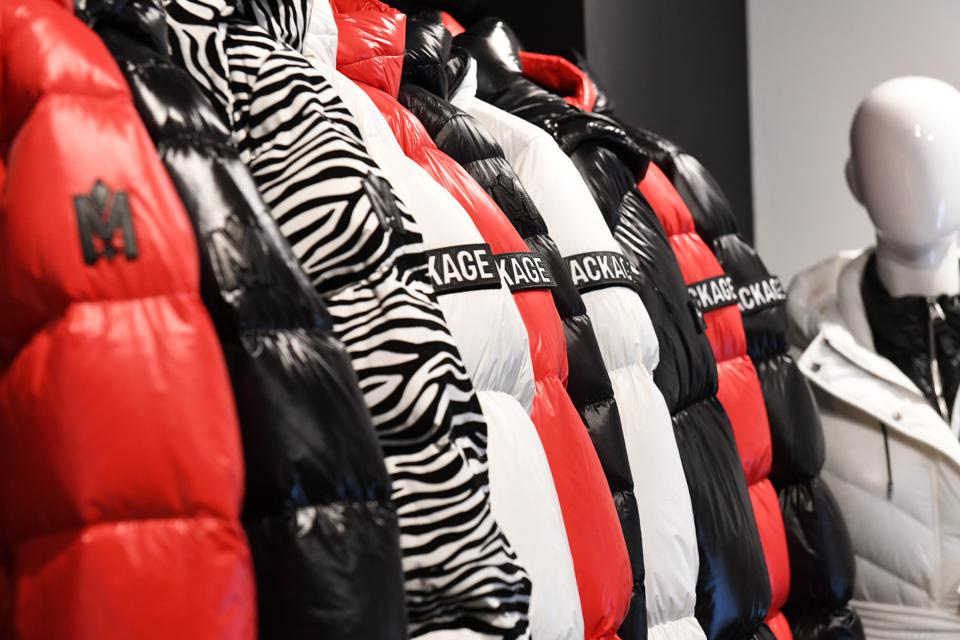 Mackage jacket in red, black, white, and zebra print.
