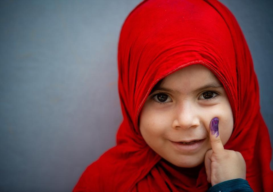 In September, a UNICEF-supported nationwide polio vaccination campaign reached 39 million children, including this little girl.