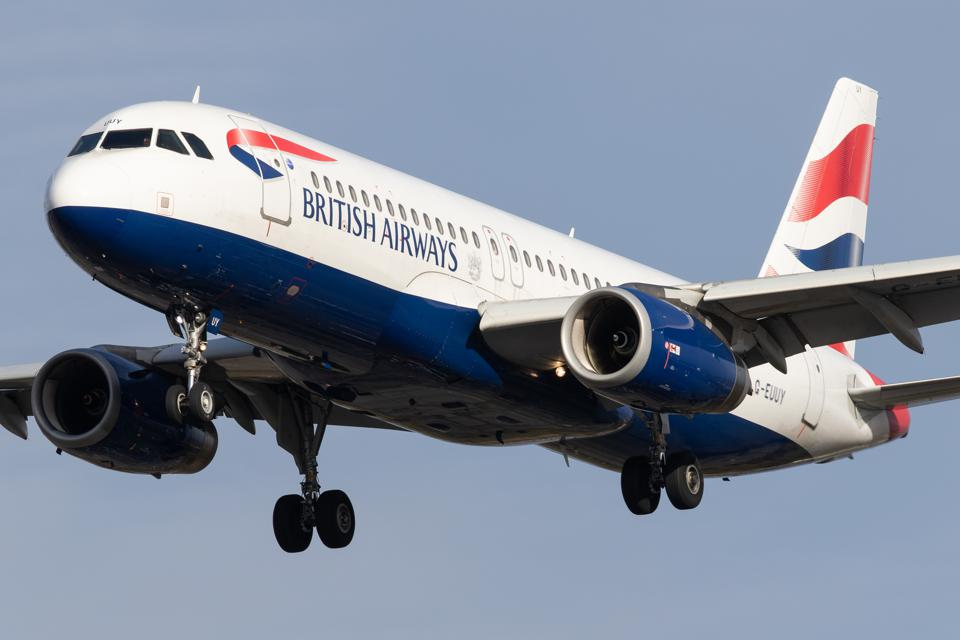 A British Airways Airbus A320 lands at London Heathrow Airport on 28th October 2020