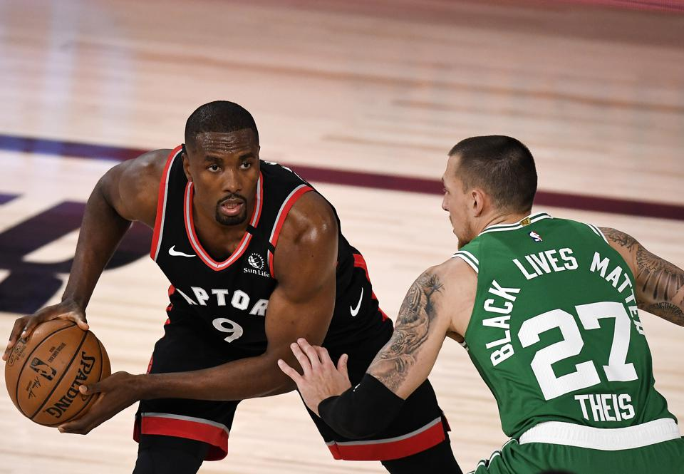 Toronto Raptors versus the Boston Celtics.