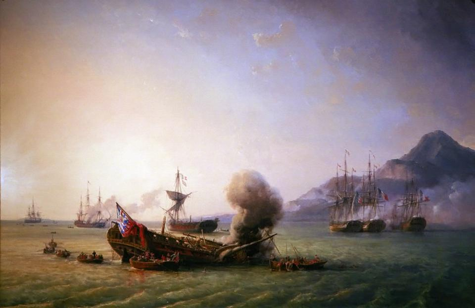 Painting of the famous 1810 Battle of Grand Port between Britain and France showing both the HMS Magicienne and HMS Sirius being scuttled by fire in Old Grand Port. This area is now covered by the oil spill.