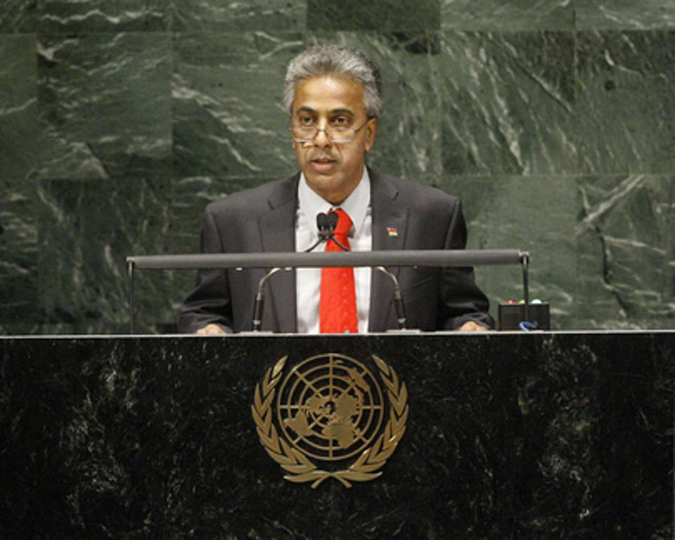 Former Minister of Foreign Affairs and Leader of the Opposition, Dr Arvin Boolell, addressing the United Nations General Assembly in 2010