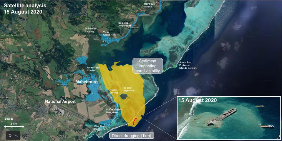 Satellite analysis reveals the extent of sediment suspension in the water in the pristine coral lagoon waters of Mauritius, marked in yellow