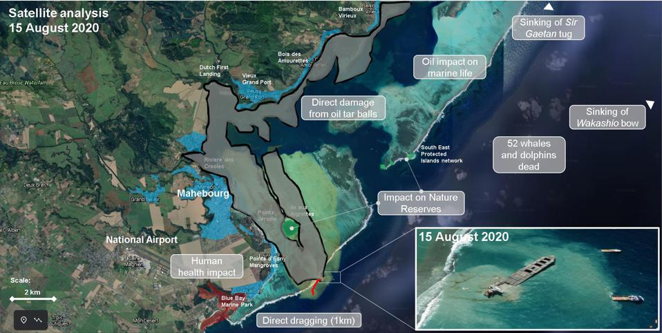 In addition to the chemical damage, the heavy oil caused direct damage to Mauritius seagrass, coral, mangrove and beach ecosystems, seen here in black and grey