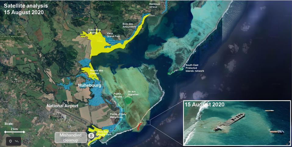 Location of the highest profile clean up operation (marked in yellow) around Blue Bay Marine Park, Riviere des Creole and Dutch Landing.  All these locations require extreme care during the cleanup.