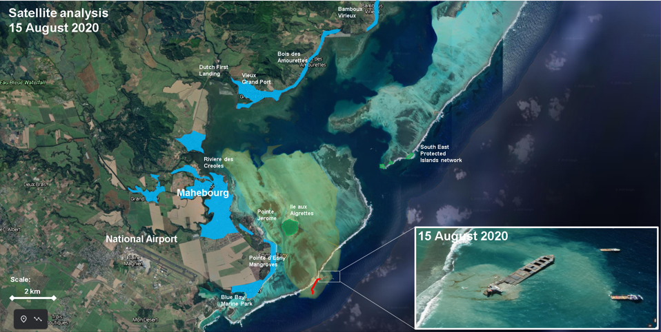 Populated areas around the oil spill location include the historic town of Mahebourg and a collection of fishing villages along Mauritius' South East coastline for 36 kilometers