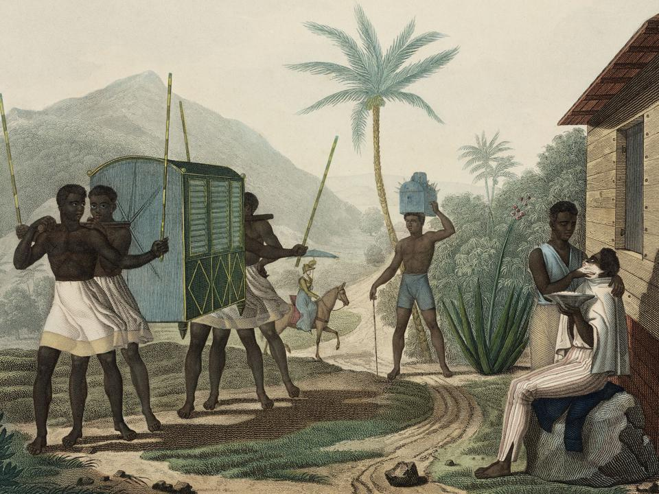 Slaves carrying a palanquin in Mauritius 1817-1820.  Illustration from Louis Claude Desaulses de Freycinet (1779-1842), who wrote an extensive account of a French voyage around the world between 1817 and 1820.