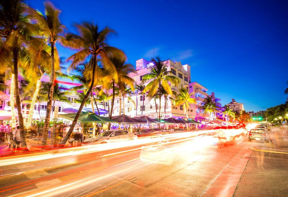 South Beach night life at Ocean Drive, Miami, USA