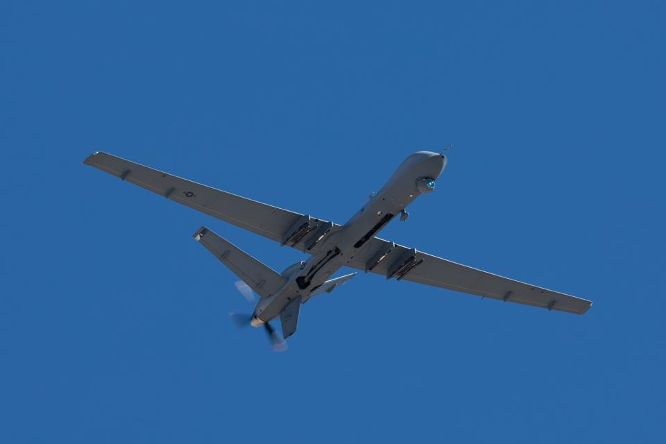 Close view of a  MQ-9 Reaper (military UAV)
