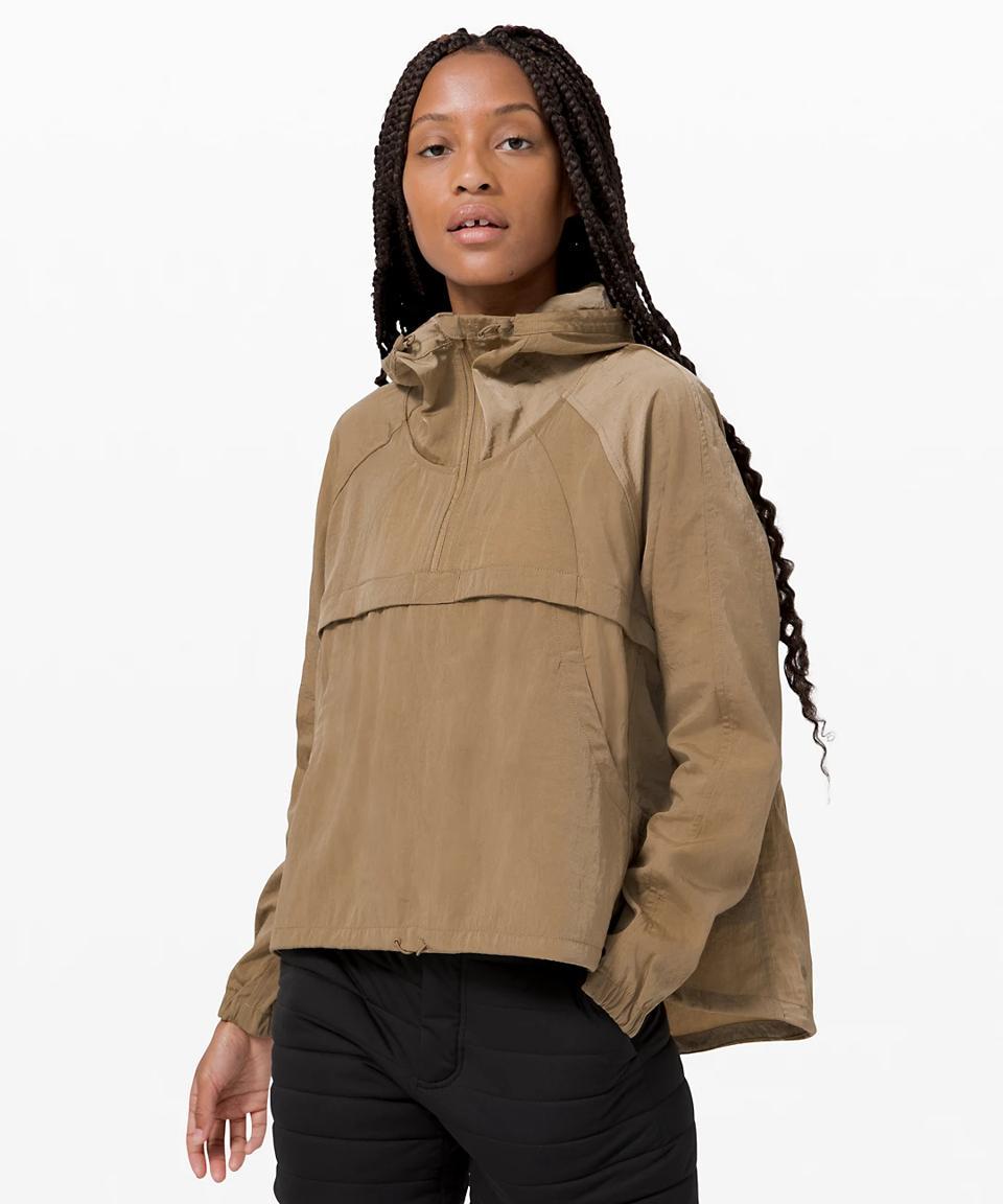 Seek Vistas 1/2 Zip Jacket in tan.