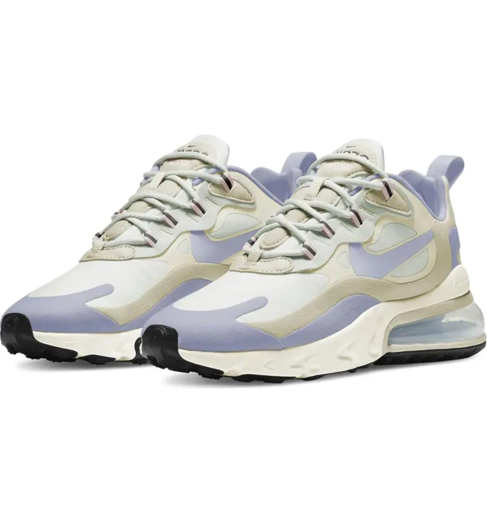 Nike Air Max 270 React Sneaker in blue and cream.