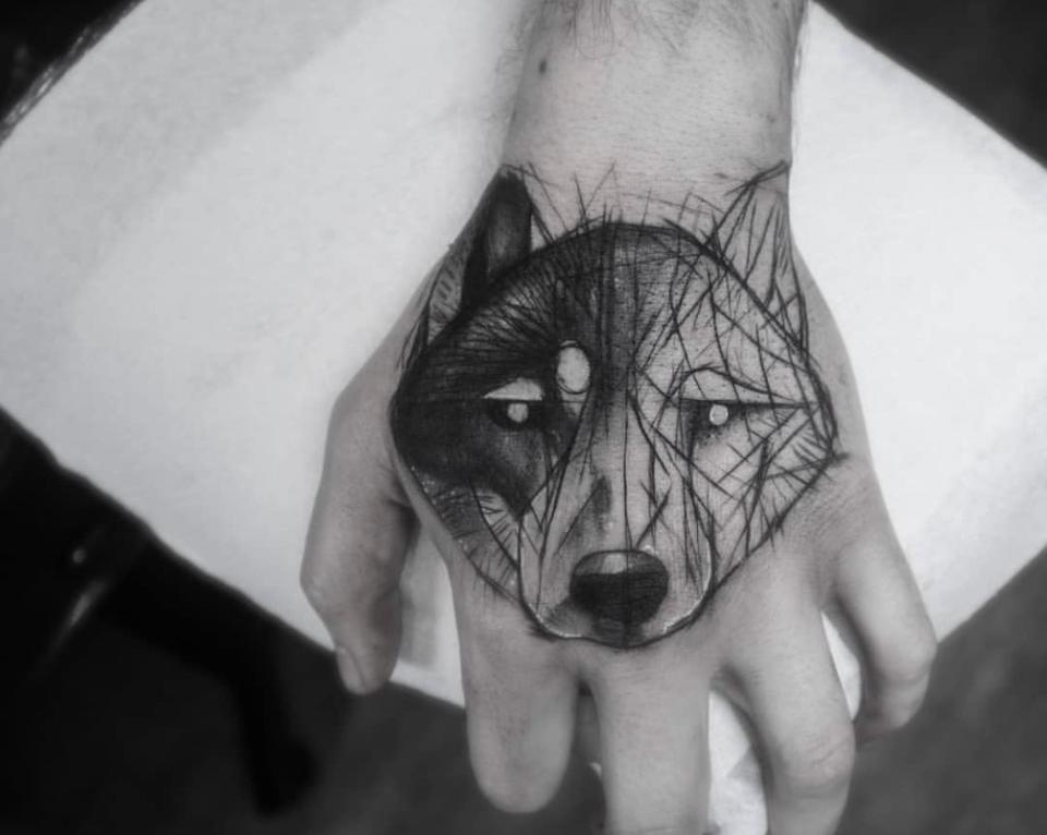 Blake Auden's wolf tattoo on his hand helps remind him not to run from hard situations.