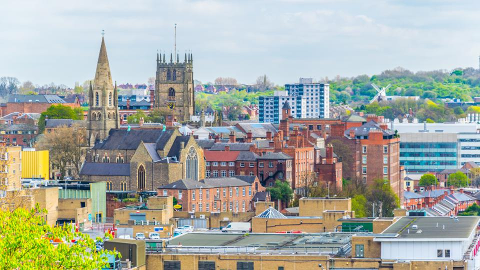 Aerial view of nottingham dominated by cathedral, England