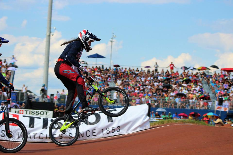 BMX racer Sophia Foresta competing for GT Bicycles