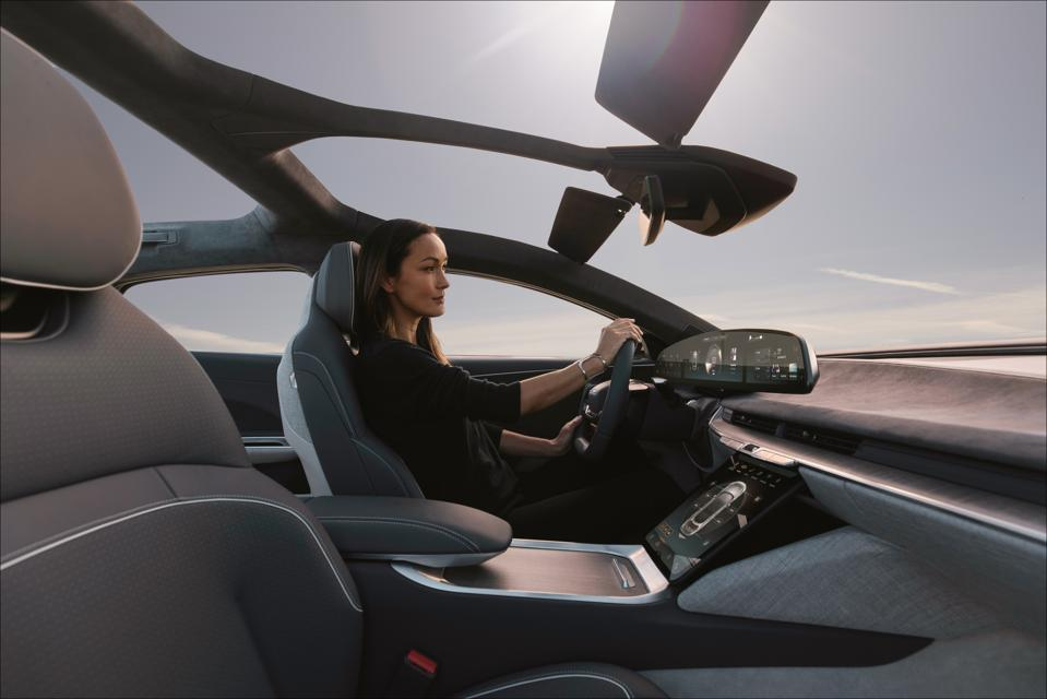 Lucid Air has no conventional windshield header connecting the roof A-pillars.