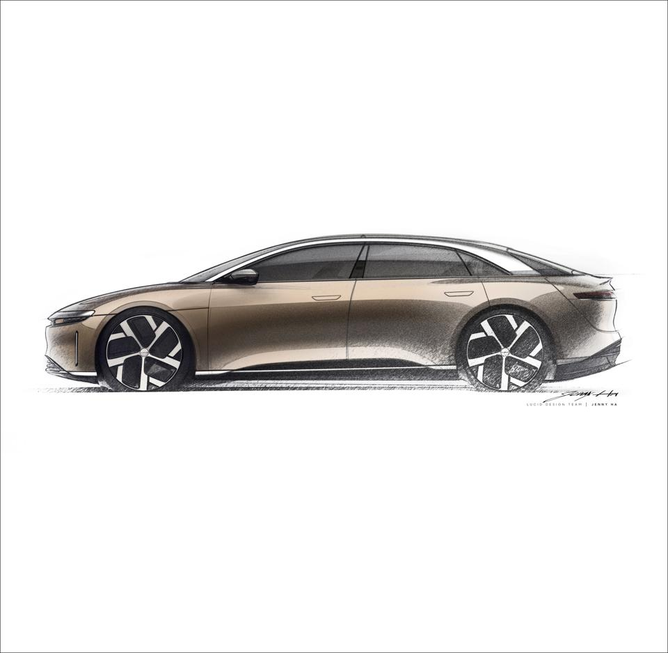 This finalized design sketch shows the tremendous length of the wheelbase.