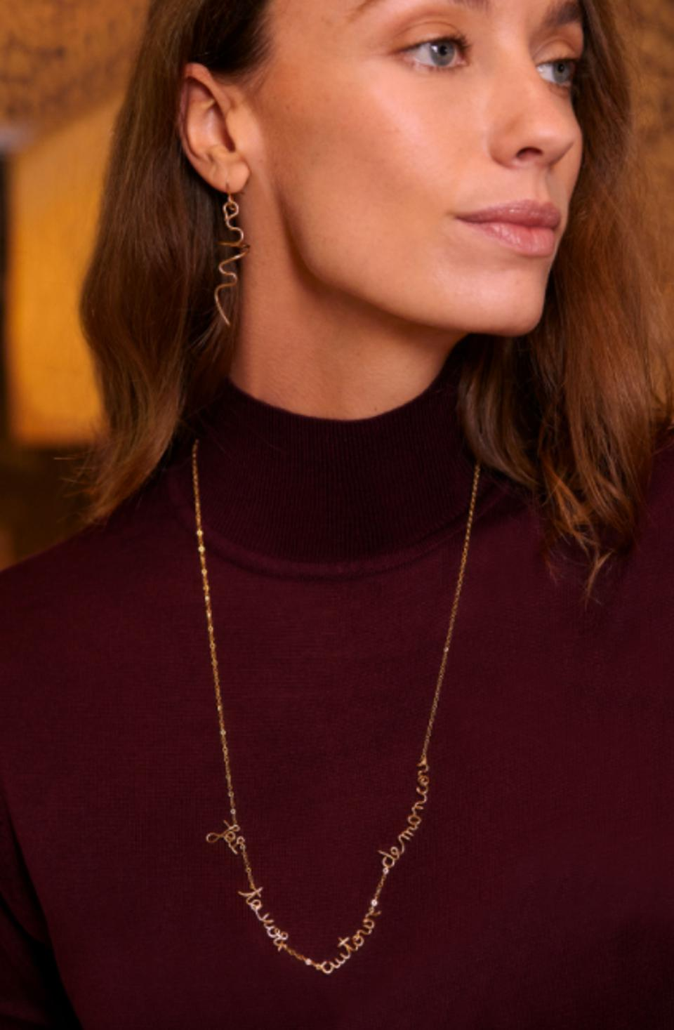 The Berthe Necklace from the Atelier Paulin x Jean Cocteau collection is made from 14 carat gold-filled wire by talented artisans and is water and weather resistant.