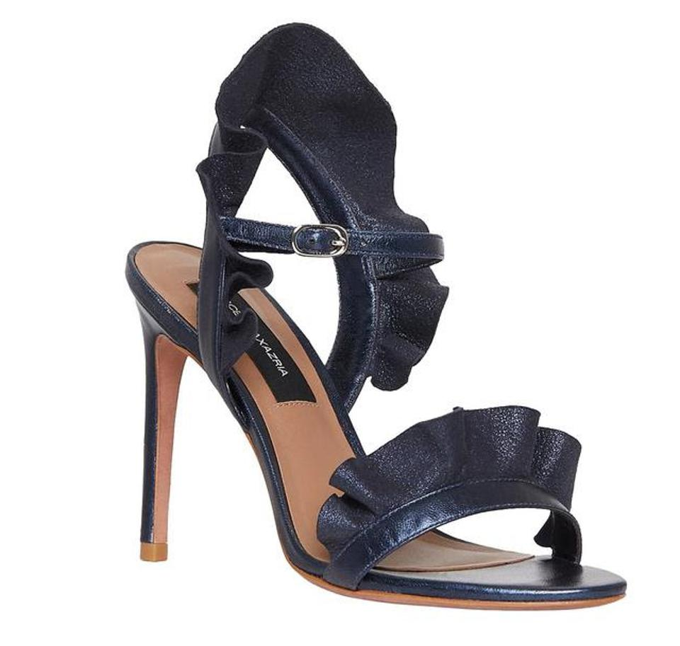 "BCBGMAXAZRIA Sabrina Heeled Sandal in Midnight Blue made out of leather, suede and includes a 3.3"" heel."