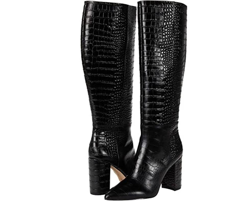 BCBGeneration Baylee Boots in black with crocodile stamping, pointed toe and wrapped block heel.
