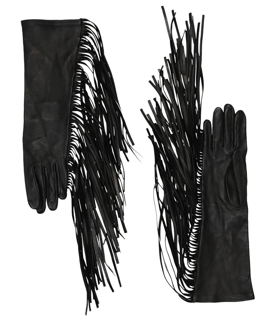 Faith Connexion Black Leather Gloves With Fringe